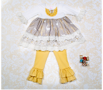 Giggle Moon White as Snow Maggie Dress & Leggings Set (sz 2T-10) FALL 2015 PREORDER