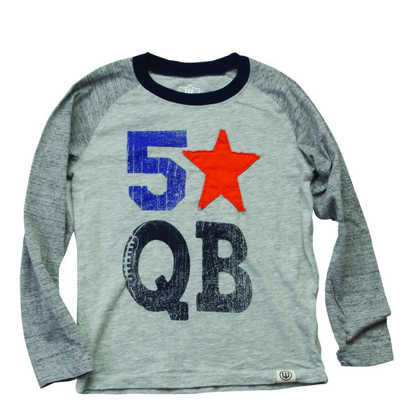 Wes and Willy 5 Star QB Slub Raglan Tee (sz 2T-7)