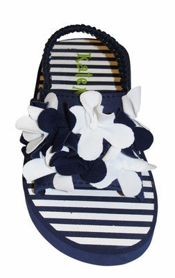 "Kate Mack ""Seaside Petals"" Navy  Toddler Sandals (sz 7/9 last 1)"