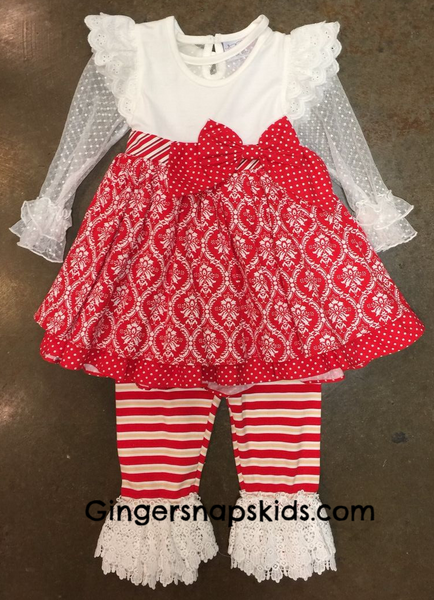 Serendipity Candy Cane Lane Flutter Dress & Legging Set (sz 6m-6) | FALL 2017 PREORDER