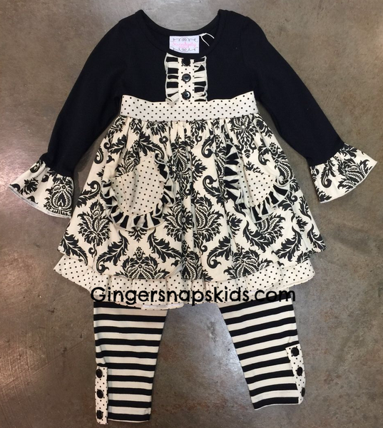 Serendipity Enchanted Dreams Damask Pocket Dress & Legging Set (sz 2T-8) | FALL 2017 PREORDER