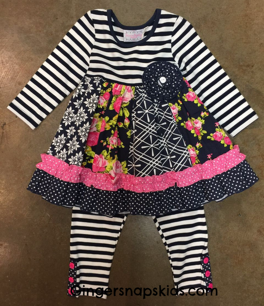 Serendipity Midnight Blossom Party Dress & Legging Set (sz 6m-6) | FALL 2017 PREORDER