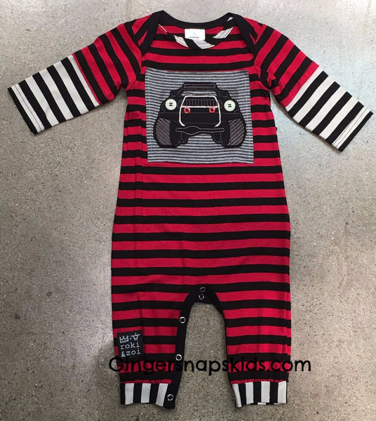 Zaza Couture Boys Monster Truck Romper (sz 3m-18m) | FALL 2017 PREORDER