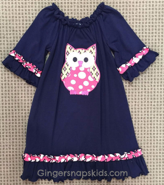 Three Sisters Owl Applique Dress (sz 4-8)