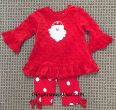 Three Sisters Girls Polka Dot Santa Applique Leggings Set (sz NB-24m) | FALL 2017 PREORDER