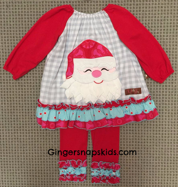 Millie Jay Santa Applique Leggings Set (sz 12m-10)