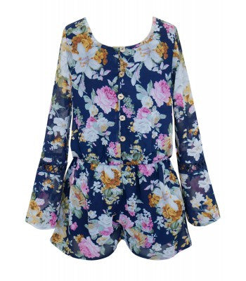 Truly Me Bell Sleeve Floral Romper (sz 7-16)