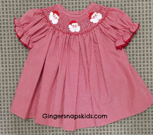 Three Sisters Smocked Santa Bishop Dress (sz NB-4T) | FALL 2017 PREORDER