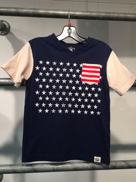 Wes and Willy Navy Flag V Neck Tee (sz 2T-6)