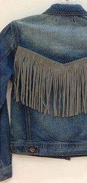Vintage Havana Denim Jacket with Fringe (S-XL)