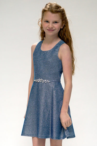 Hannah Banana Black Blue Sparkle Dress (sz 7-12)