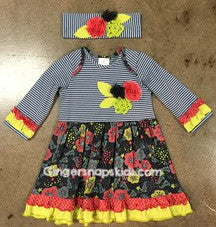 Roki & Zoi by Zaza Couture Grey/Coral/Lime Ruffle Dress (sz 2T, 4T last ones)