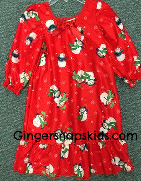 Laura Dare Winter Wonderland Snowman long sleeve Gown (sz 2T-6X)