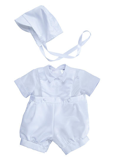 Boys Christening Satin Shortall and Cap Set (sz 3m-9m)