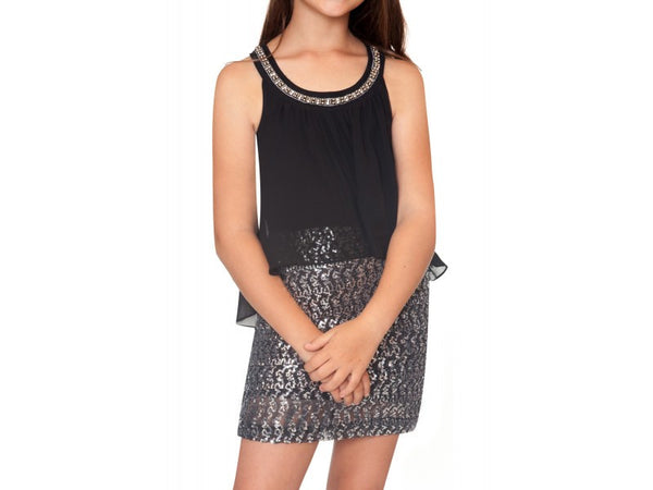 Hannah Banana Black Sequin & Chiffon Halter Dress (sz 7-16)
