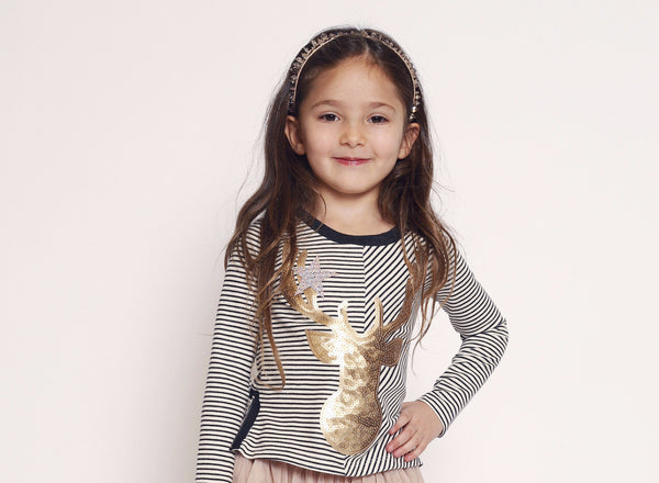 Hannah Banana Sequin Deer Top (sz 4-14)