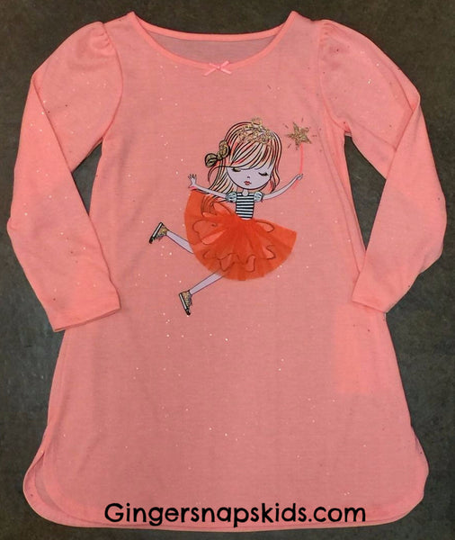 Petit Lem Sparkle Peach Nightgown (sz. 2-7)