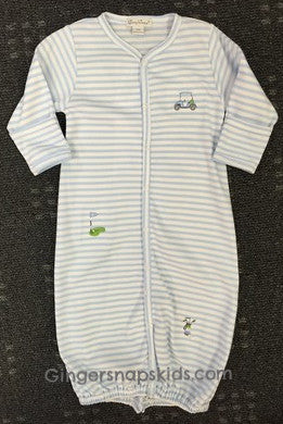 Kissy Kissy Boys Mini Golf Stripe Convertible Gown (sz NB, 0/3m)