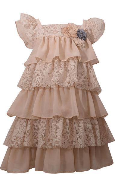 Cream Chiffon & Lace Tiers Dress (sz 12m-6X)