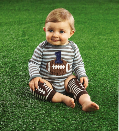 Mud Pie I'm One Striped Football Crawler (sz 9-12m)