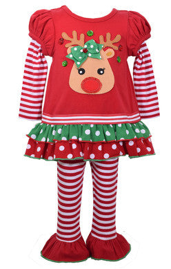 Reindeer Applique Leggings Set (sz 0/3m-6X) | FALL 2017 PREORDER