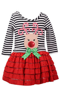 Reindeer Eyelash Dress (sz 2T-6X)