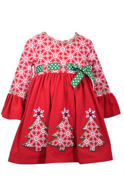 Print Christmas Tree Pull Thru Dress (sz 2T-6X) | FALL 2017 PREORDER
