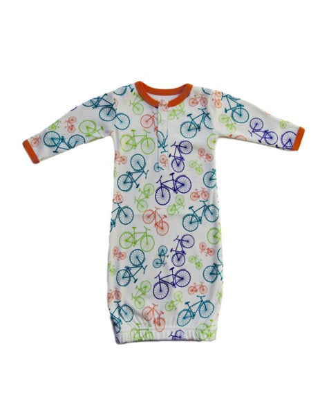 Cat and Dogma Unisex Bikes Print Gown (sz 0/3m)