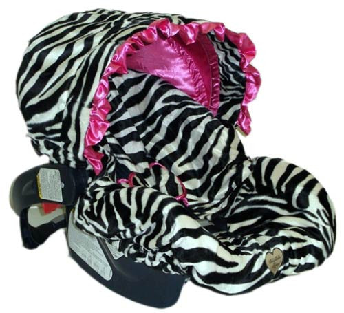 Pink Zebra Couture Infant Car Seat Replacement Cover (one size fits most models)