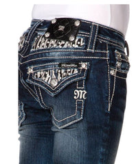 Miss Me Girls Zebra Flap Stud Denim Boot Cut Jeans sz. 7-14
