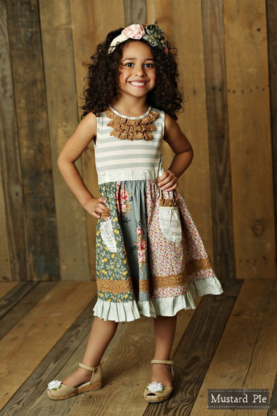 Mustard Pie Sugar Blossom Scrappy Ramona Dress (sz 4-8)
