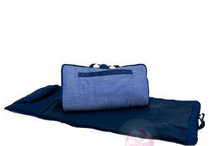 Navy Chambray Nap Mat / Roll w/Blanket & Pillow