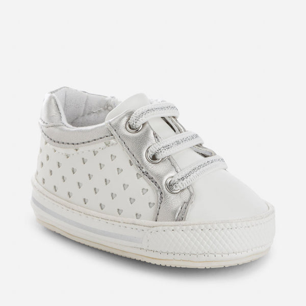 Mayoral Girls White Heart Die Cut Sneakers (sz 0-9m)