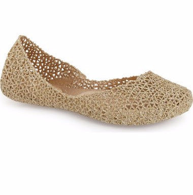 Women's Melissa Campana Gold Sparkle Shoes (sz 6-10)
