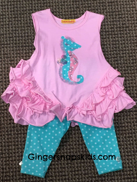 Haven Girl Happy First Stella Seahorse Set (sz 12m-6X) | SPRING 2017 PREORDER