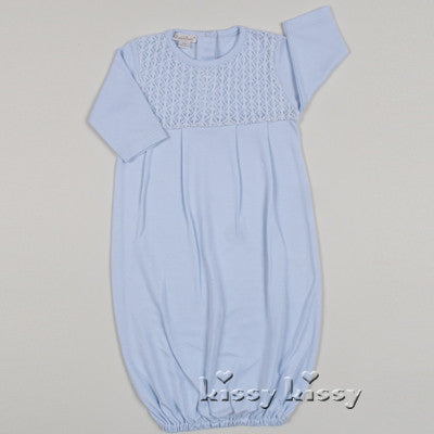Kissy Kissy Boys Blue Delicate Stitches Gown (sz NB)