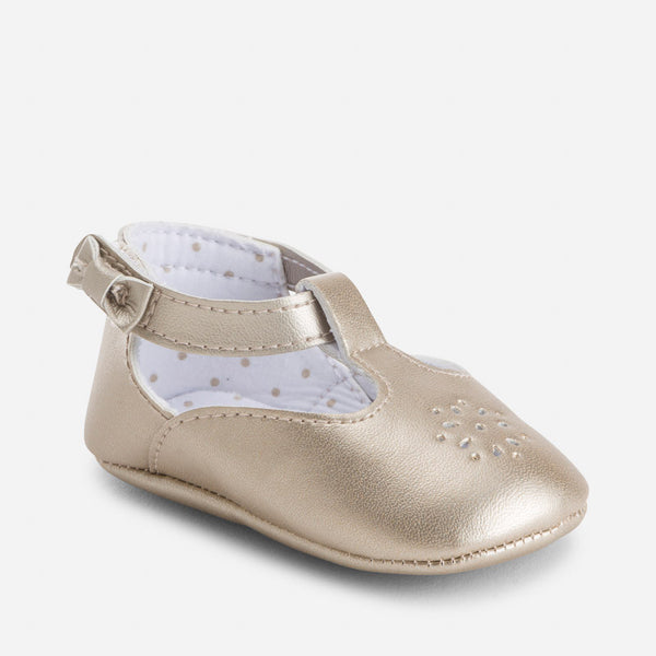 Mayoral Girls Gold Maryjanes (sz 0-9m)