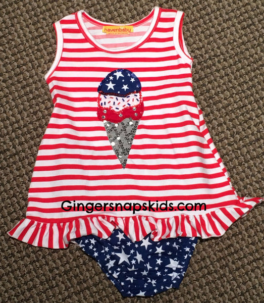 Haven Girl 4th of July Fun Tank Ruffle Set (sz 12m-24m)