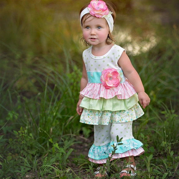 Haute Baby Lime Blossom Tunic Set (sz 0/3m-6) | SPRING 2017 PREORDER