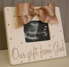 Our Gift From God Neutral Sonogram/Photo Wooden Frame with Bow