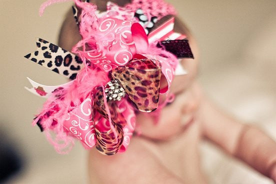 Leopard and Pink  Bling Center Over the Top Hairbow Headband
