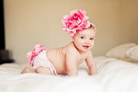 Diaper Cover and Headband Set HUGE Pink Peony Hair Flower with Beautiful Bling Center