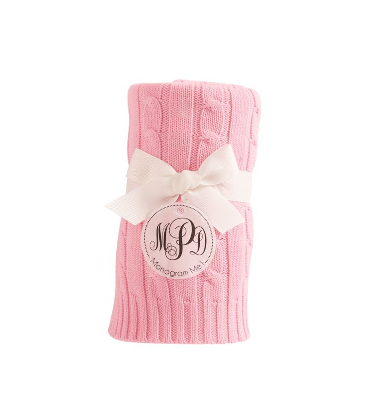 Mud Pie Pink Cable Knit Blanket
