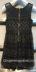 Ella Moss Black Isla Lace Fit n Flare Dress (sz 7/8-14)
