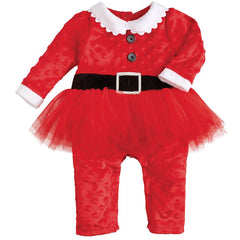 Mud Pie Santa Minky Dot Soft Tutu Coverall (sz 0-6m, 6-12m)