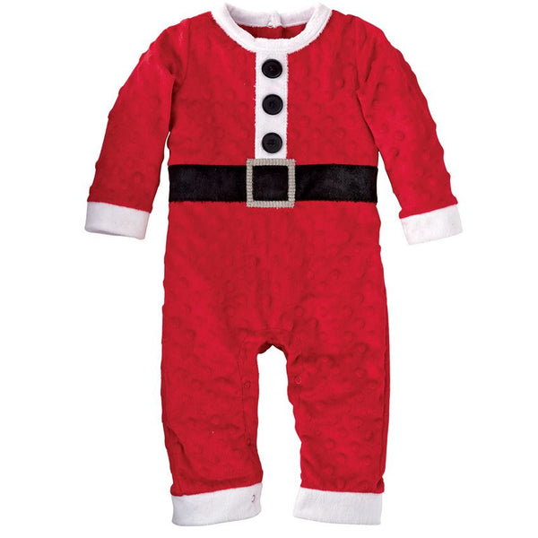 Mud Pie Minky Dot Soft Santa Coverall (sz 0-6m)