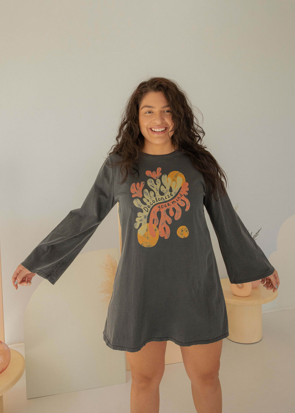 Original Wasi Clothing Decolonize Your Mind Bell Sleeve 70s T-Shirt Dress