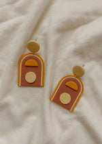 Wasi Clothing Arch Creme and Terra Cotta Colored Handmade Clay Earrings