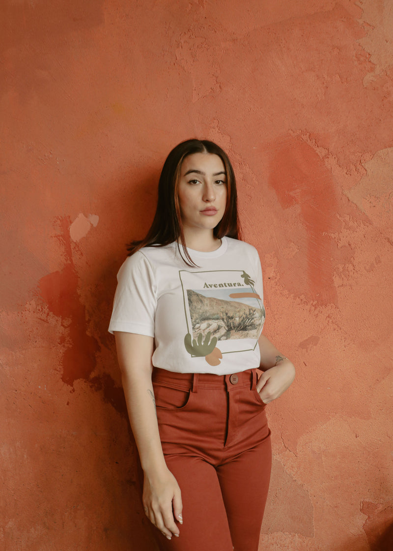 Wasi Clothing Aventura Tee with Desert Photography and Abstract Shapes.