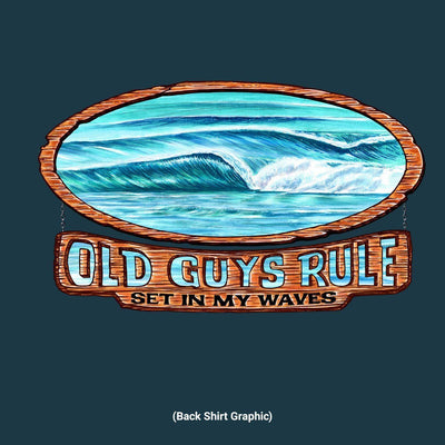 Old Guys Rule - Waves - Harbor Blue T-Shirt - Back Design